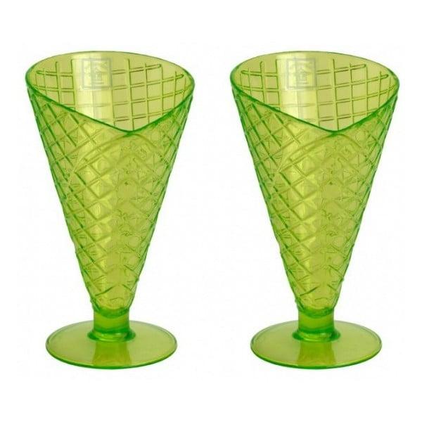 Sada zelených pohárů na zmrzlinu, 2 ks