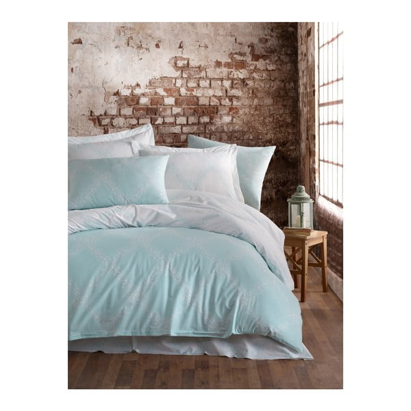 Lenjerie de pat cu cearșaf din bumbac ranforce, pentru pat dublu Mijolnir Nadine Mint, 200 x 220 cm