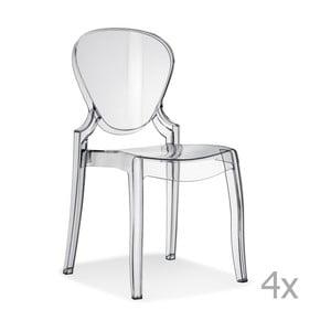 Sada 4 transparentních jídelních židlí Pedrali Queen