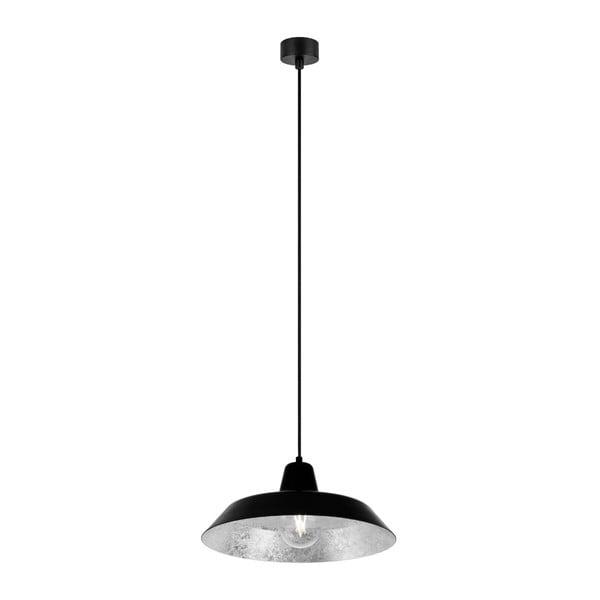 Čierne stropné svietidlo s vnútrajškom v striebornej farbe Bulb Attack Cinco, ∅35 cm