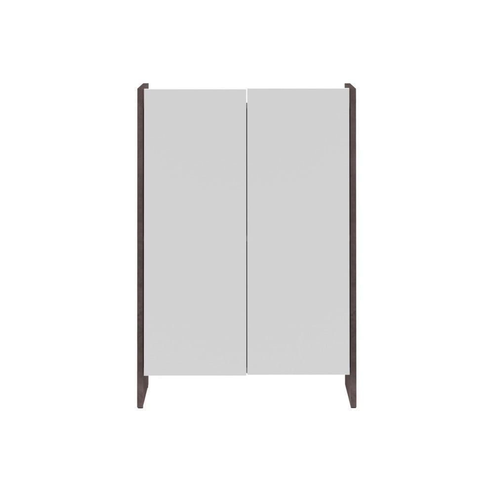 Bílá koupelnová skříňka s šedým korpusem TemaHome Biarritz, výška 89,5 cm