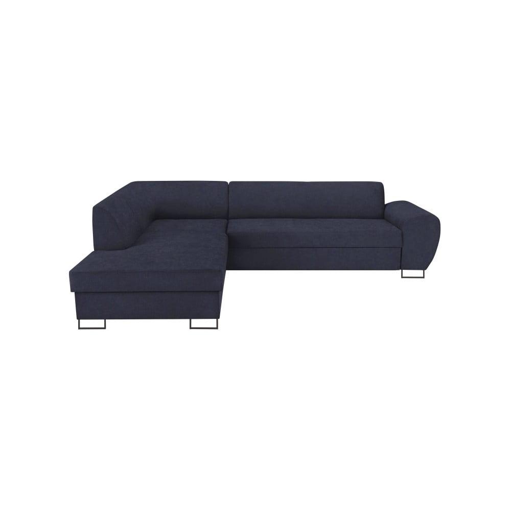 Tmavě modrá rohová rozkládací pohovka s úložným prostorem Kooko Home XL Left Corner Sofa Puro