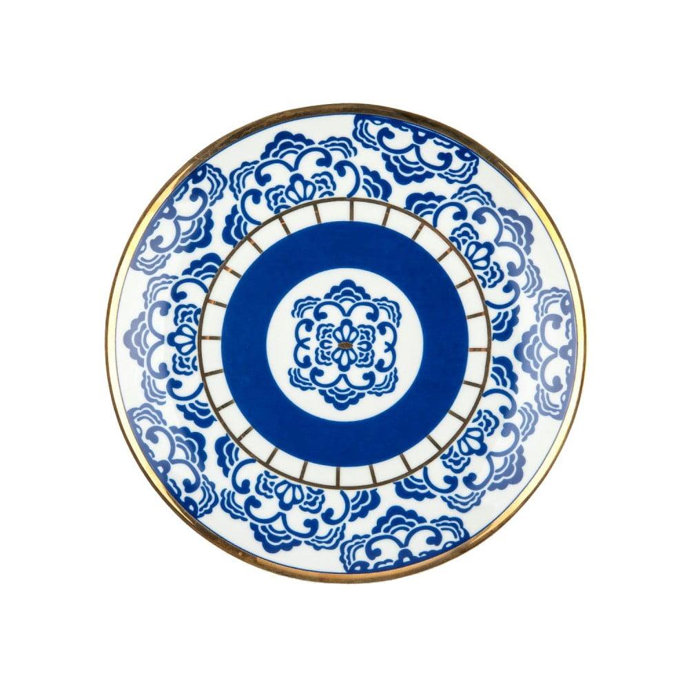 Modrobílý porcelánový talíř Vivas Melinda, Ø23cm