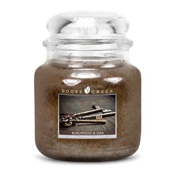 Vonná sviečka v sklenenej dóze Goose Creek Prasknuté drevo a dub, 0,45 kg