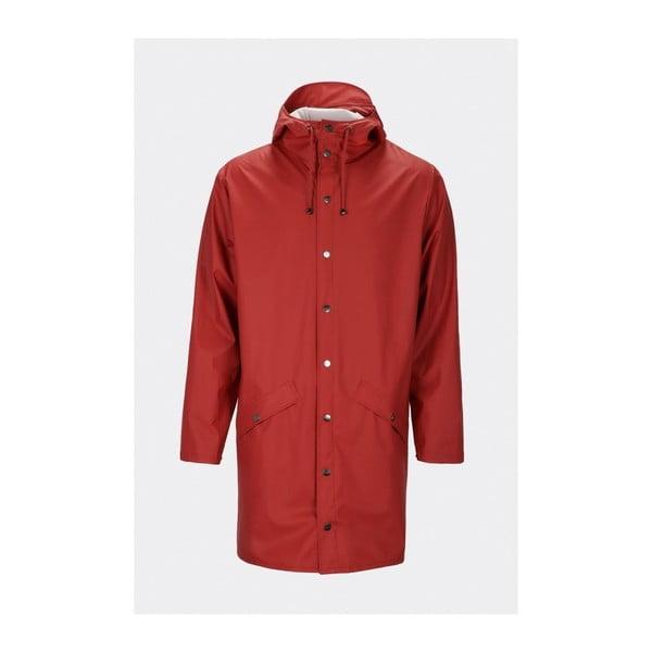 Tmavočervená unisex bunda s vysokou vodeodolnosťou Rains Long Jacket, veľkosť S/M