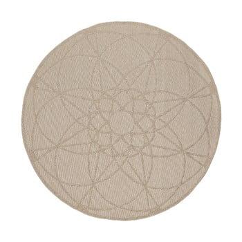 Covor rezistent adecvat pentru exterior Floorita Tondo Ecru, ⌀ 194 cm