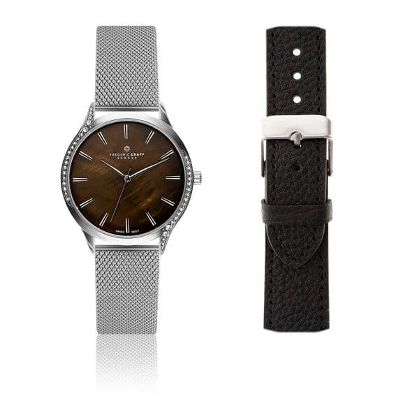 Dámske hodinky s výmenným antikoro remienkom v striebornej farbe a z pravej kože Frederic Graff Crystal
