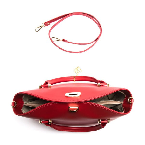 Červená kožená kabelka Isabella Rhea no. 396