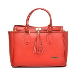 Červená kožená kabelka Anna Luchini Carlota