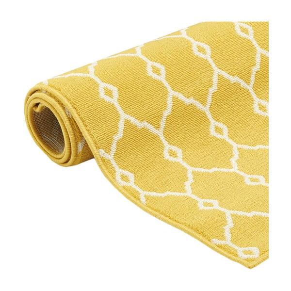 Žlutý vysoce odolný koberec vhodný do exteriéru Floorita Trellis, 160x230cm