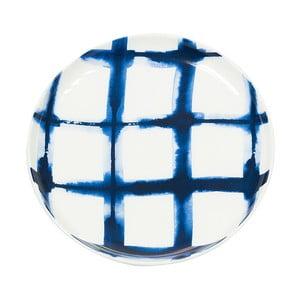 Farfurie din porțelan Santiago Pons Grid, ⌀ 21 cm, alb - albastru