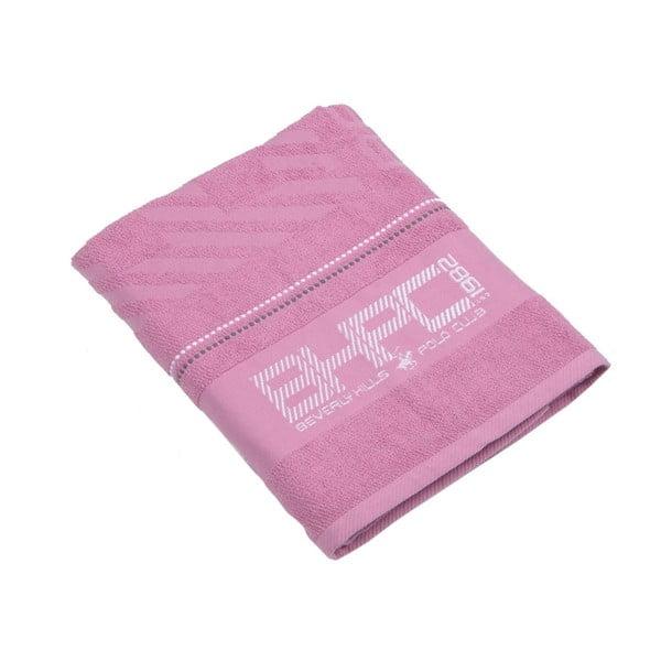 Růžová bavlněná osuška BHCP, 80x150 cm