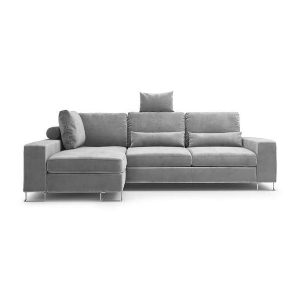 Sivá rozkladacia rohová pohovka so zamatovým poťahom Windsor & Co Sofas Diane, ľavý roh