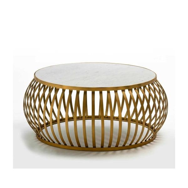 Konferenční stolek ve zlaté barvě s mramorovou deskou Thai Natura, ∅90cm
