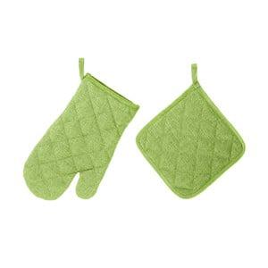 Set limetkově zelené chňapky a rukavice Unimasa