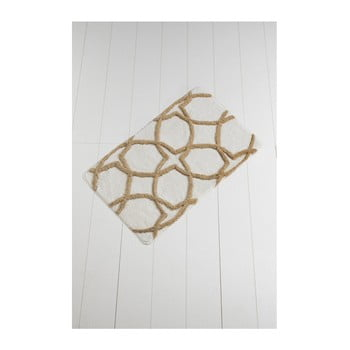 Covor baie Waves Hexagon 100 x 60 cm maro - alb