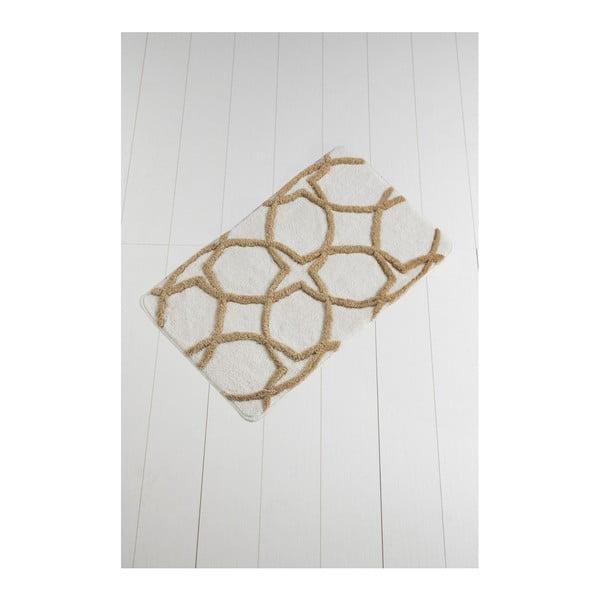 Waves Hexagon barna-fehér fürdőszobai kilépő, 100 x 60 cm