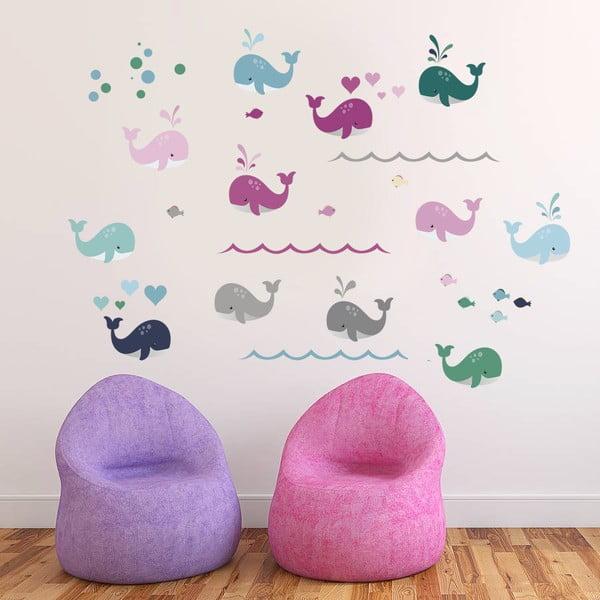 Dekorativní samolepka na zeď Barevné velryby
