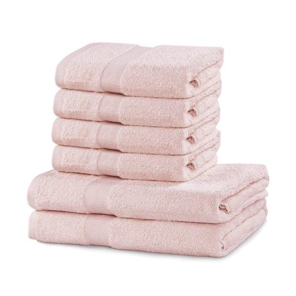 Set 2 ružových osušiek a 4 uteráka DecoKing Marina