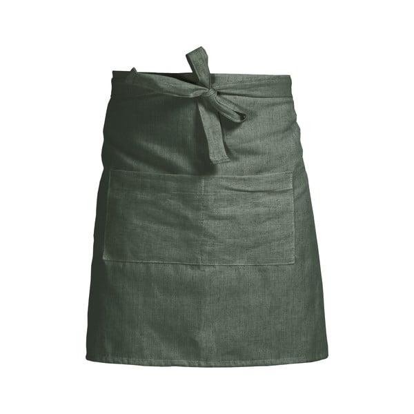 Zelená zástera s prímesou ľanu Linen Couture Delantal Green Moss