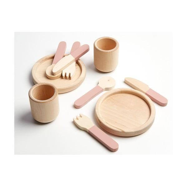 Zestaw naczyń dziecięcych z drewna do zabawy Flexa Toys Tablewear