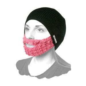 Černá čepice Beardo s růžovým plnovousem