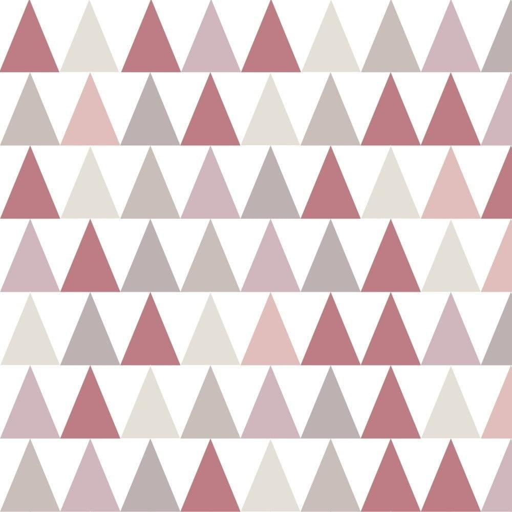 Tapeta do dětského pokoje s růžovými detaily Art For Kids Triangles, 48 x 1000 cm