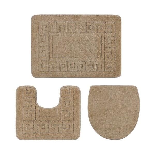 Zestaw 3 jasnobrązowych dywaników łazienkowych i pokrowca na klapę WC Confetti Ethnic Oyuklu, 40x50 cm