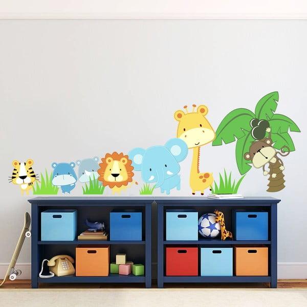 Samolepka na stěnu Zvířátka a palma, 60x90 cm