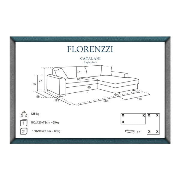 Tyrkysová pohovka Florenzzi Catalani s lenoškou na pravé straně
