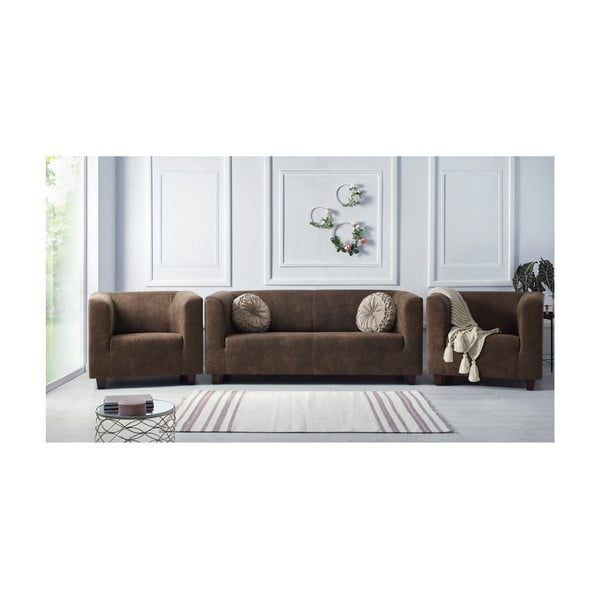 Set 2 fotolii și canapea cu 3 locuri Bobochic Paris Django Preston, maro deschis