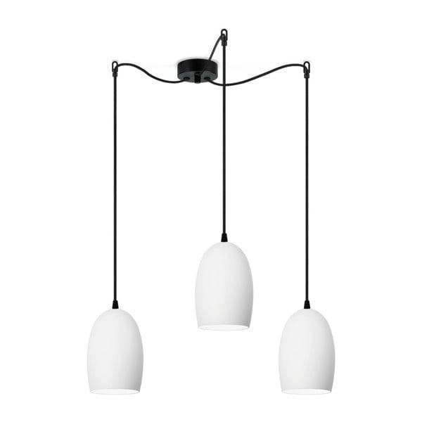 Biała potrójna matowa lampa wisząca z czarnym kablem Sotto Luce Ume