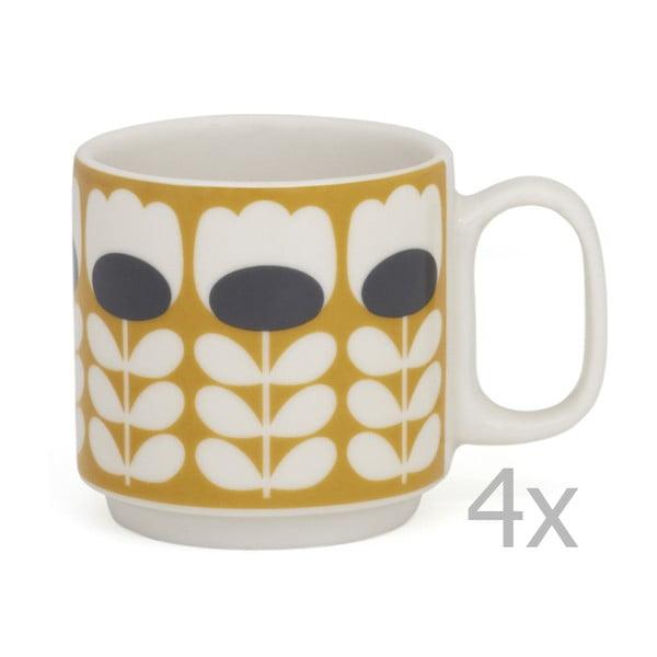 Sada 4 hrnků na espresso Orla Kiely Tulip