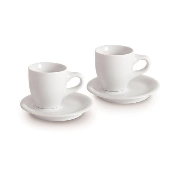Set dvou šálků s podšálky Espresso Doppio, bílý