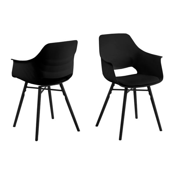 Set 2 scaune Actona Ramona Dining Set Total Black, negru