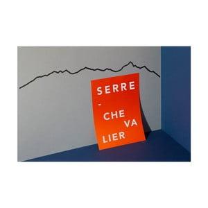 Černá nástěnná dekorace se siluetou města The Line Serre Chevalier
