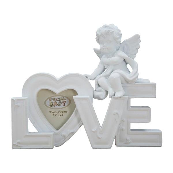Bílá dekorace s fotorámečkem Mauro Ferretti Baby Love,profotografii5x5cm