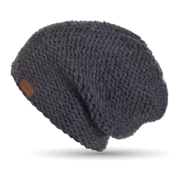 Tmavosivá ručne pletená čiapka DOKE Dark