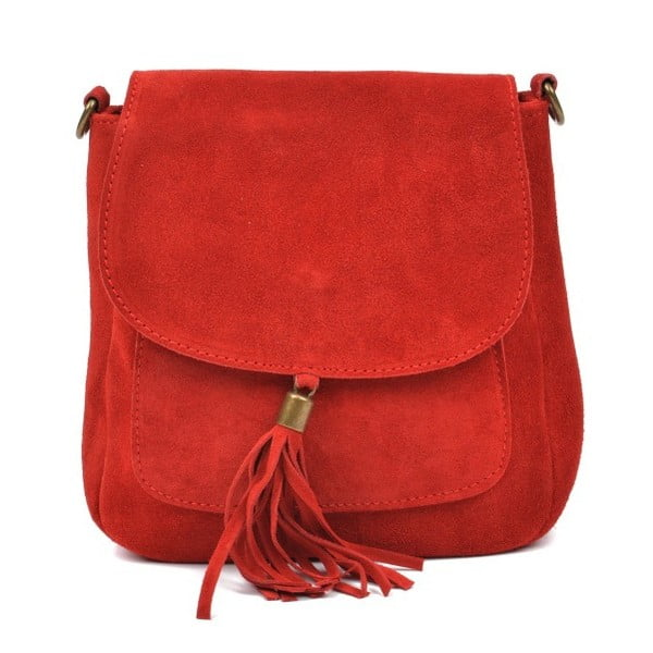 Červená kožená kabelka Anna Luchini Kaello