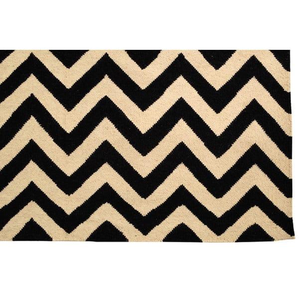 Ručně tkaný koberec Black and White Zigzag Kilim, 160x250 cm