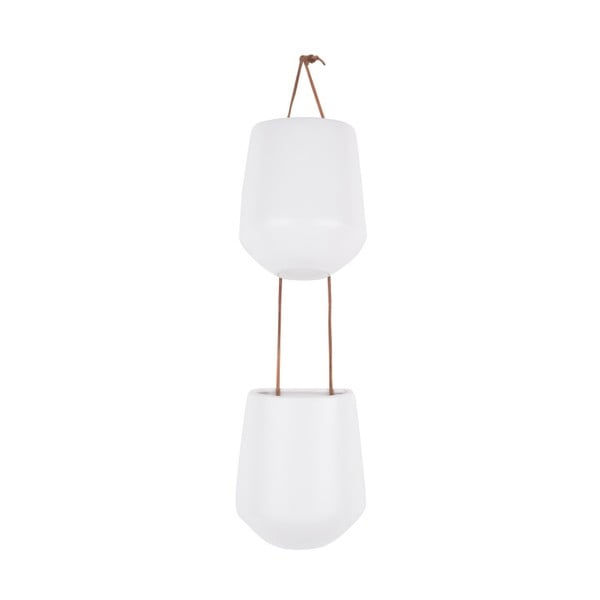 Matowy biały podwójny ceramiczny wiszący kwietnik PT LIVING Skittle Doble