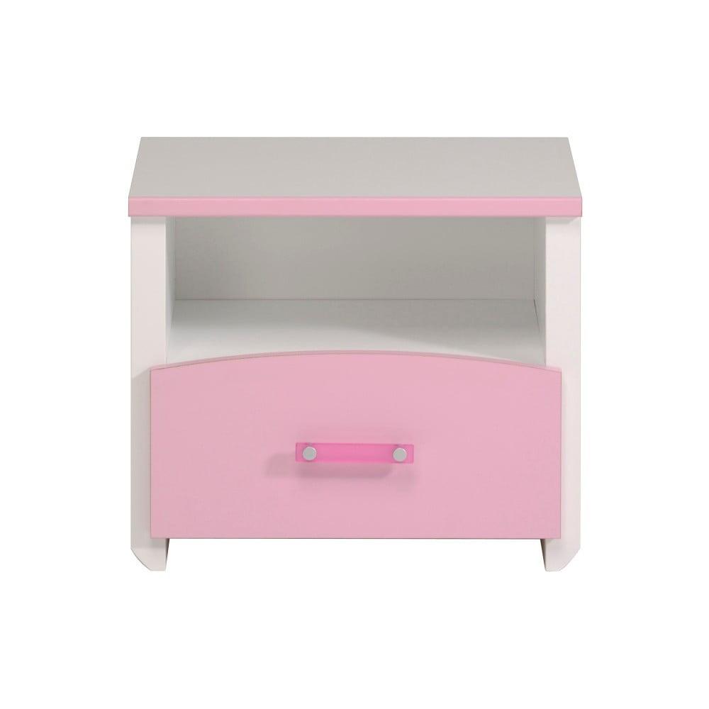 Růžovobílý noční stolek se zásuvkou Parisot Amabelle