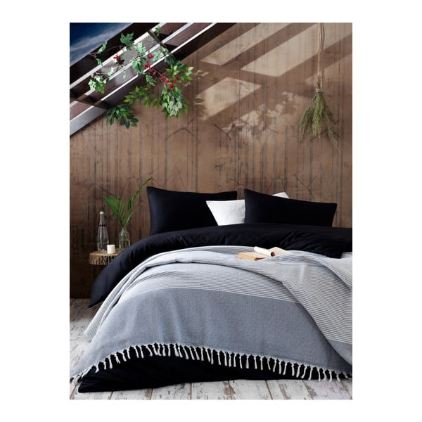 Cuvertură din bumbac pentru pat EnLora Home Anna Yatak Örtüsü, 220 x 240 cm, alb - negru