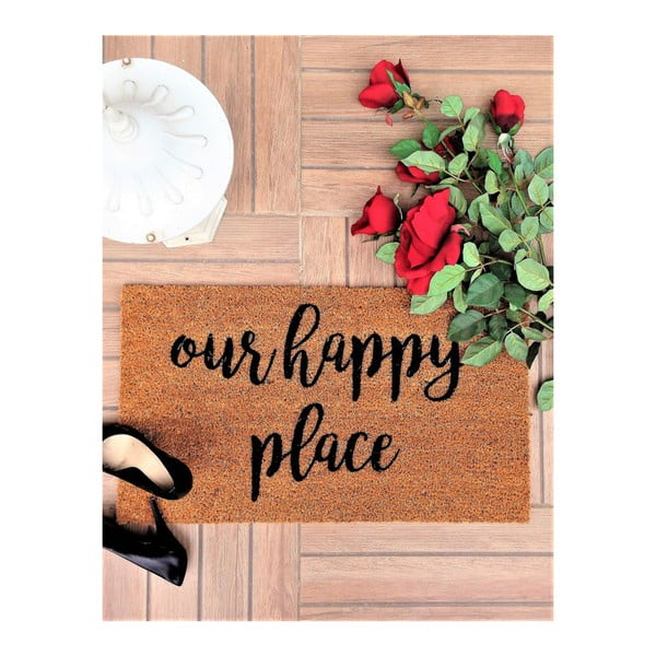 Rohožka z kokosových vlákien Happy Place, 70 × 40 cm