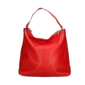 Červená kožená kabelka Chicca Borse Paduha 0ba7db6895f