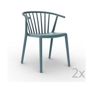 Sada 2 modrých  zahradních židlí Resol Woody