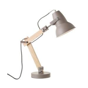 Šedá stolní lampa ze dřeva a kovu Unimasa