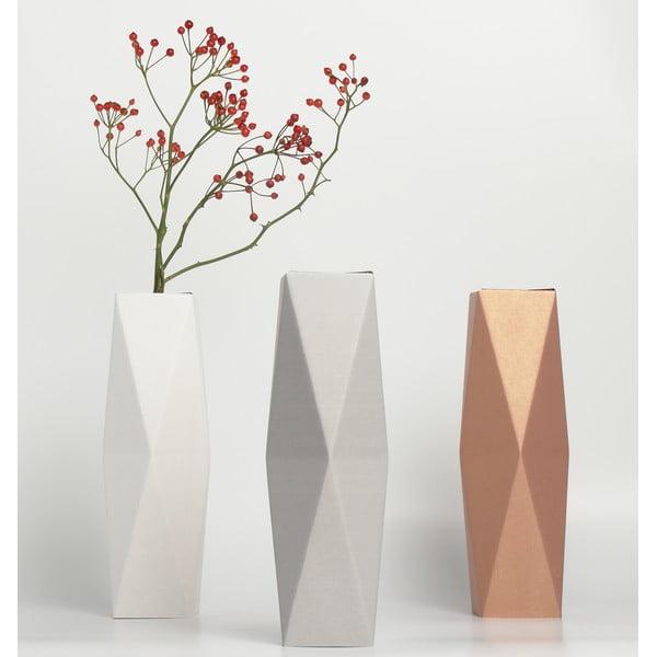 Vysoká kartonová váza, šedá