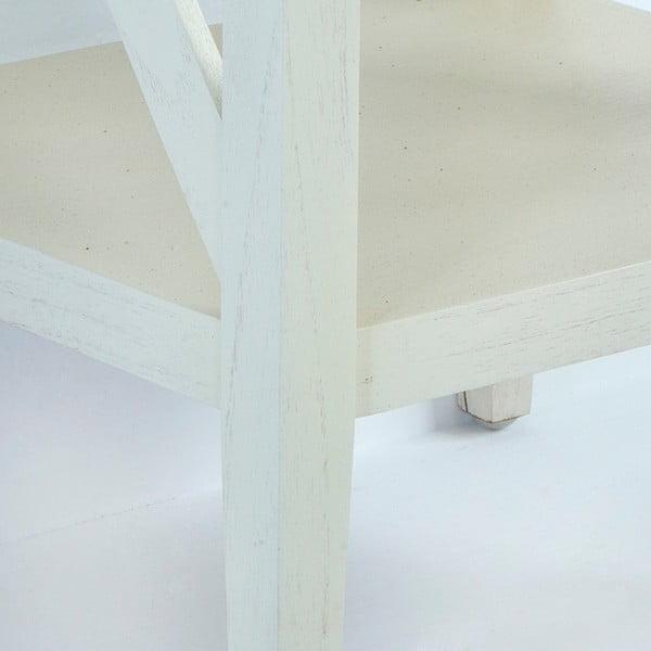 Bílý dřevěný noční stolek Thai Natura, 42 x 70 cm