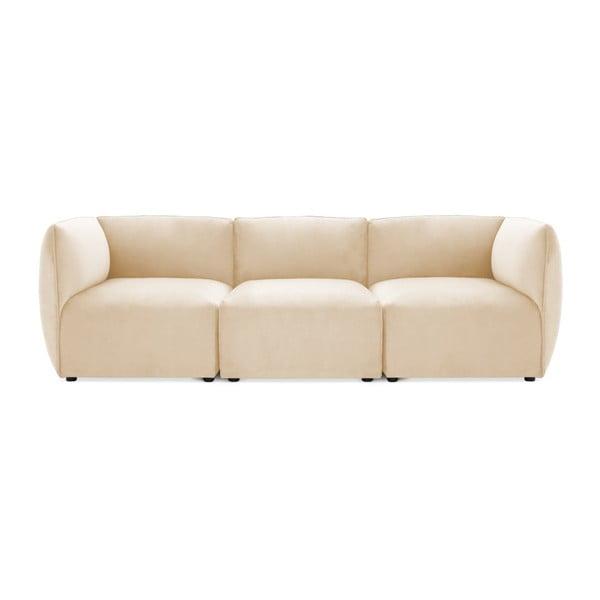 Canapea modulară cu 3 locuri Vivonita Velvet Cube, bej nisipiu